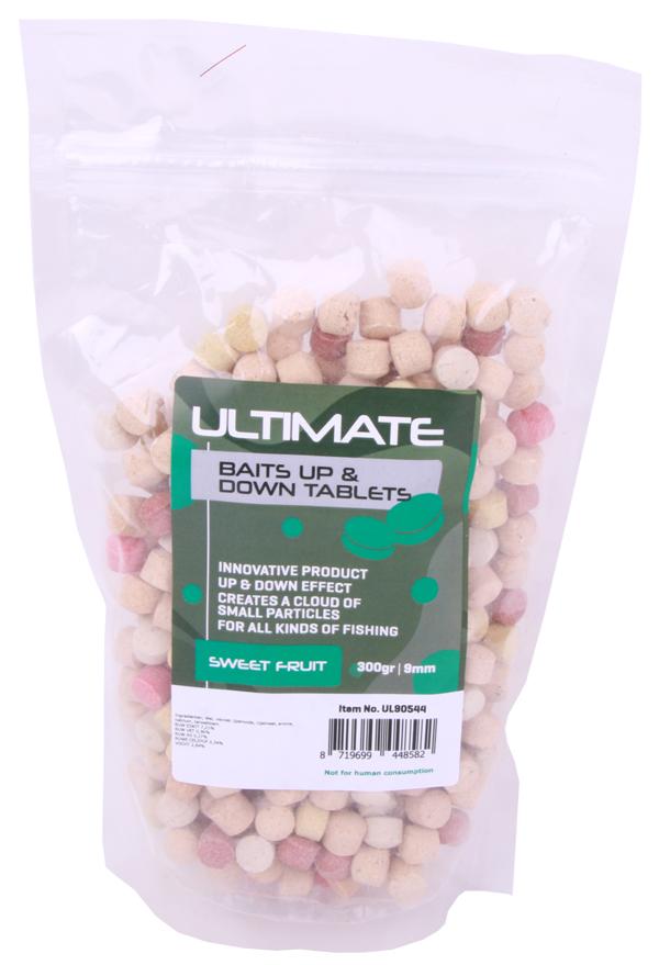Ultimate Baits Up & Down Tablets 9mm, geben unter Wasser Geruchs-, Farb- und Aromastoffe ab - Sweet Fruit 9mm