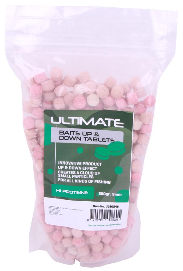 Ultimate Baits Up & Down Tablets 9mm, geben unter Wasser Geruchs-, Farb- und Aromastoffe ab - Hi Proteïne 9mm