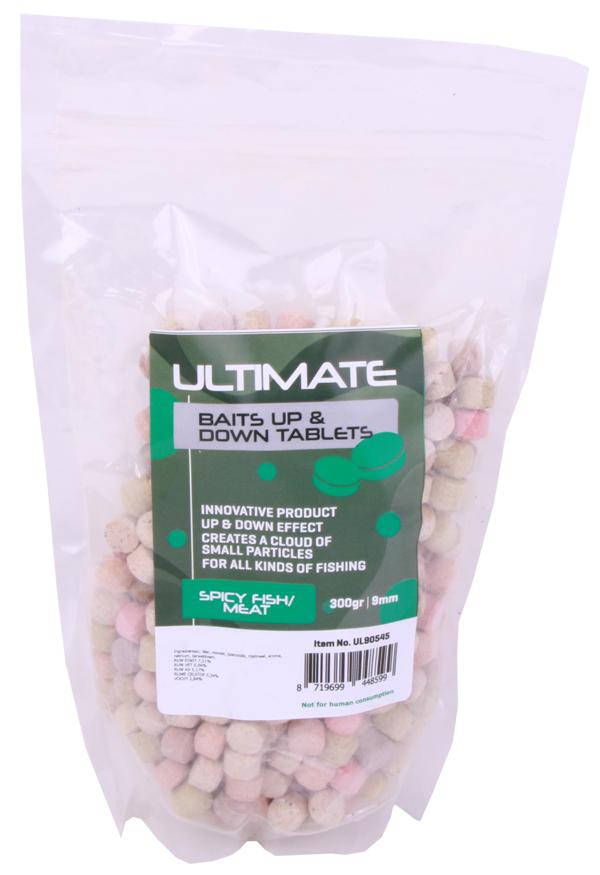 Ultimate Baits Up & Down Tablets 9mm, geben unter Wasser Geruchs-, Farb- und Aromastoffe ab - Spicy Fish/Meat 9mm