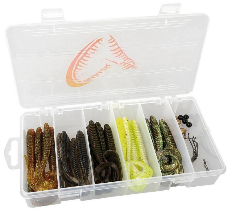 Savage Gear Rib Worm Kit, fertig für das Carolina und Texas rig!