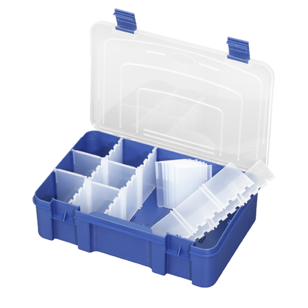Panaro Tacklebox Blau mit Transparentem Deckel - 196, 1-15 compartimenten, 276x188xH75 mm