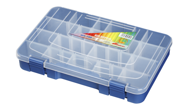 Panaro Tacklebox Blau mit Transparentem Deckel - 195, 1-20 compartimenten, 276x188xH45 mm