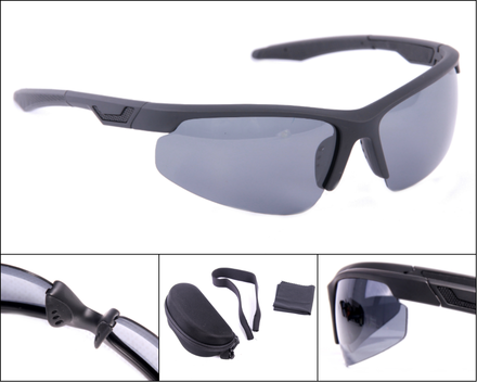 polarised sonnenbrille mit offenem schwarzen rahmen und grauen gl sern. Black Bedroom Furniture Sets. Home Design Ideas
