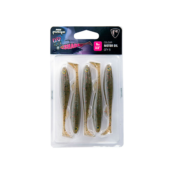 Fox Rage Slick Shad Motor Oil Ultra UV Packs 5pcs (mehrere Optionen)